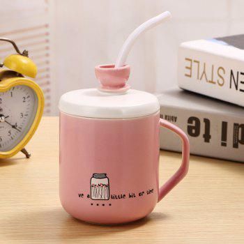400Ml Straw Colored Glazed Candy-colored Ceramic Cup - LIGHT PINK LIGHT PINK