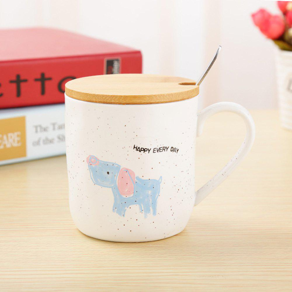 400ML Cartoon Animal Ceramic Mug - BLUE