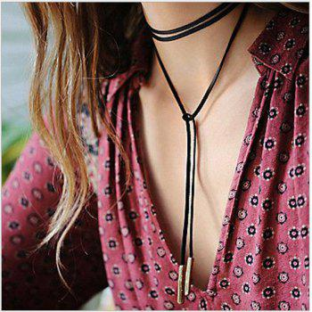 New Fashion Jewelry Black Rope Necklace Leather Bow Choker Diy Necklace Gift For Women Girl - SILVER