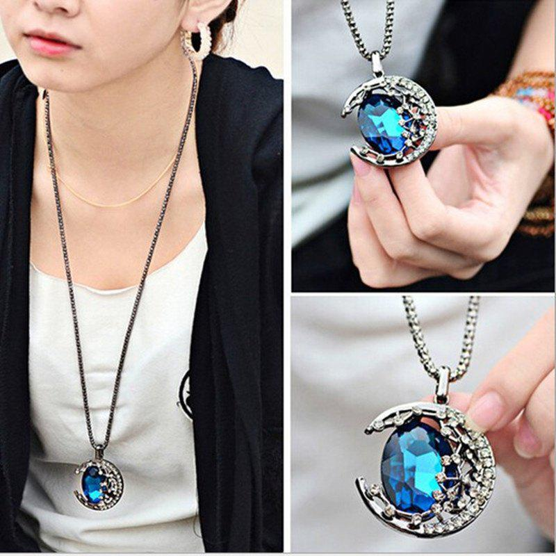 Female Fashion Gem Moon Long Necklace Pendant Necklace Sweater - GOLD
