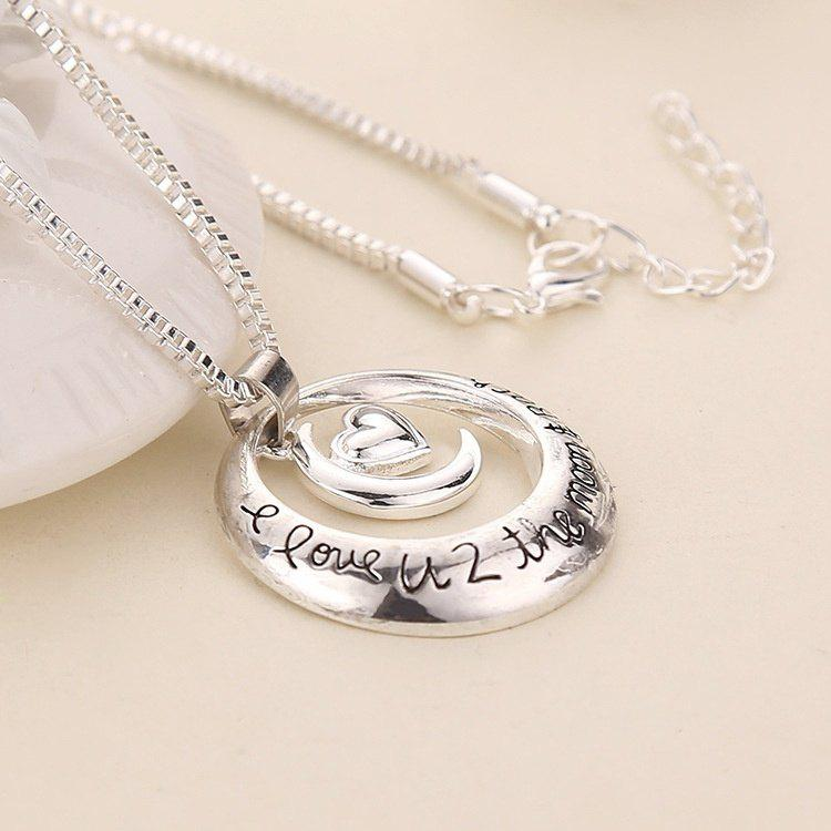 Trend Male and Female Necklace Couple Necklace Necklace I Love U Sun Moon Heart Necklace - PHOTO COLOUR