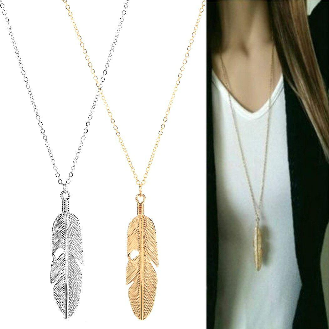Fashion Women Jewelry Feather Pendant Chain Necklace Long Sweater Chain Statement Jewelry - GOLD