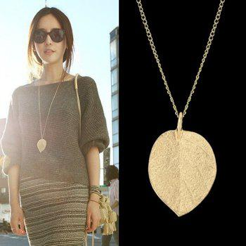 Jewelry Gold Color Alloy Leaf Design Pendant Necklace 2016 New For Women Size 67 8 Cm Color Gold