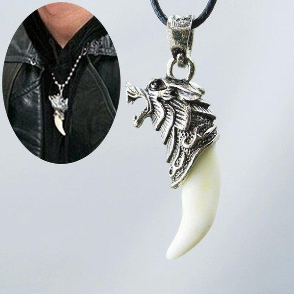 Fashion Men's Antique Silver Tribal White Stark Wolf Fang Tooth Boho Pendant Necklace - PHOTO COLOUR