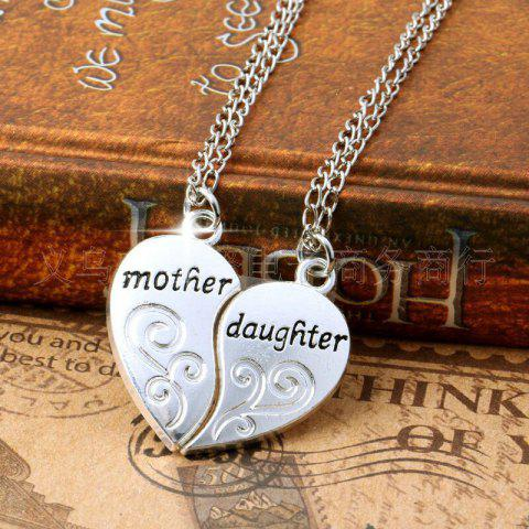 Female Fashion with Two Heart-shaped Mosaic Heart Pendant Necklace - SILVER