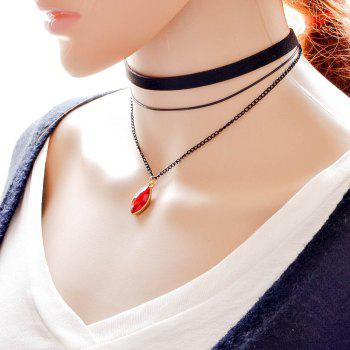 Fashion Gemstone Pendant Female Multi Layer Necklace - RED RED