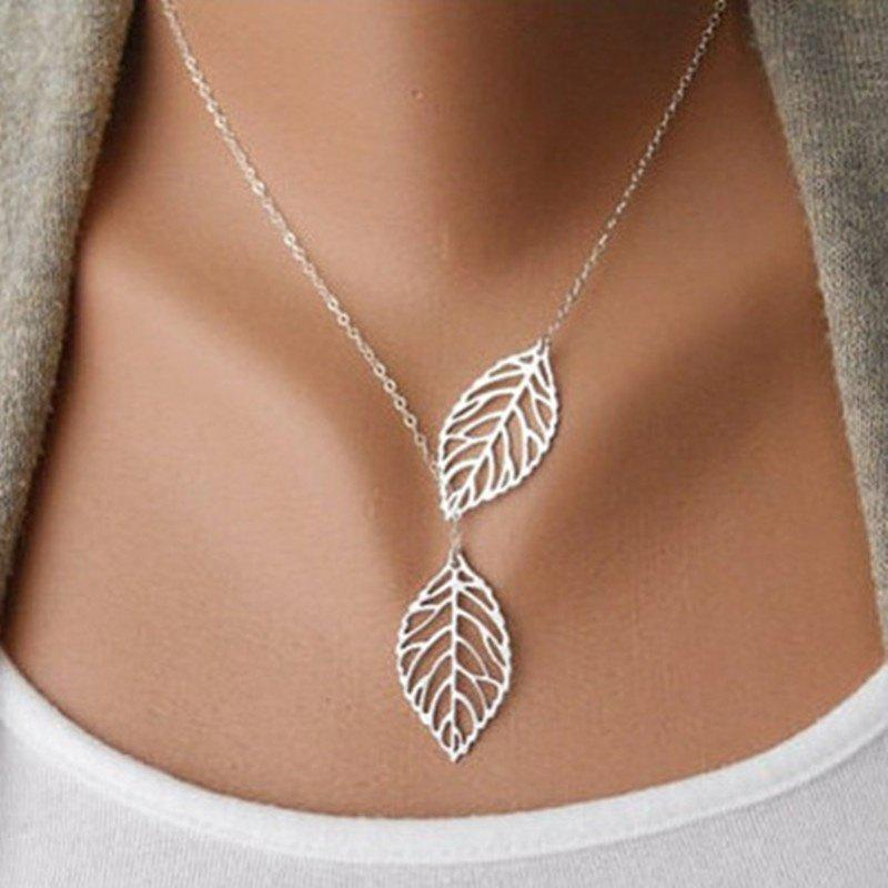 Fashion Beautiful Gold/silver Double Leaves Pendant Necklace Unique Best Gift - GOLD 18.5 CM