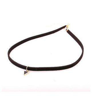 Female Fashion PU Cortex Short Triangle Pendant Necklace - BLACK