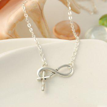 Ladies Fashion Elegant Silver Plated Cross Infinity Pendant Chain Party Necklace Size 51 Cm Color Silver - PHOTO COLOUR