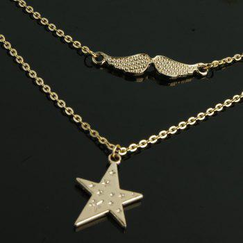 Women's Fashion Star Wings Multi Layered Necklace - GOLD