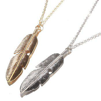 Women Jewelry Feather Pendant Chain Necklace Long Sweater Chain Statement Jewelry - SILVER