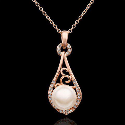 Female Fashion Chain Drop Shaped Clavicle Natural Freshwater Pearl Diamond Necklace NEW - GOLD