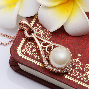 Female Fashion Chain Drop Shaped Clavicle Natural Freshwater Pearl Diamond Necklace NEW -  SILVER