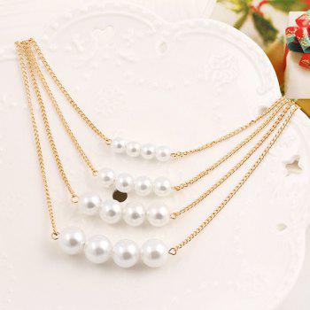 Multi Layer Pearl Necklace, Clavicle Chain Sweater Necklace - PHOTO COLOUR