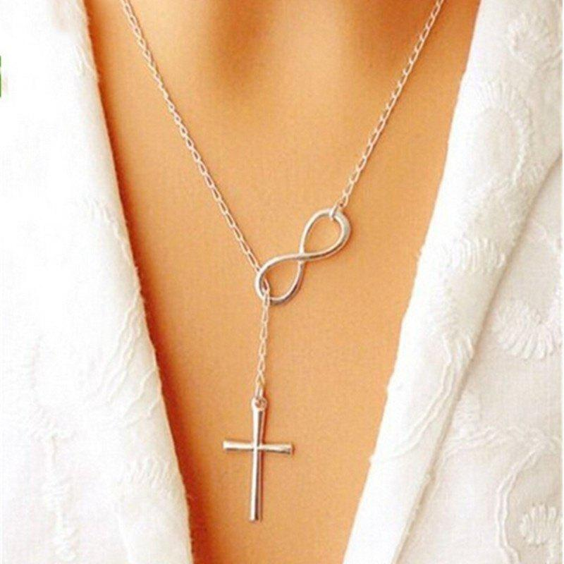2016 Ladies Fashion Elegant Silver Plated Cross Infinity Pendant Chain Party Necklace Size 51 Cm Color Silver - PHOTO COLOUR