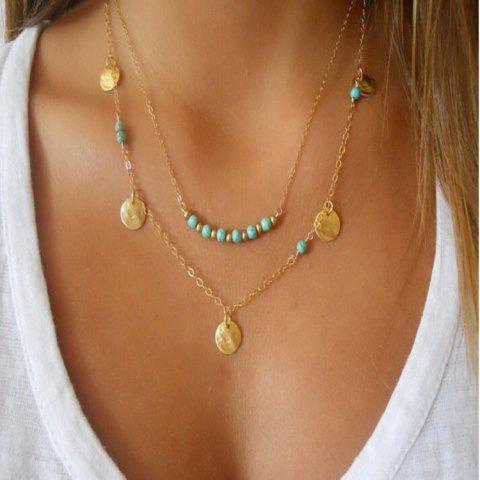 Multi Layer Wafer Female Fashion Turquoise Necklace Chain Clavicle - GOLD