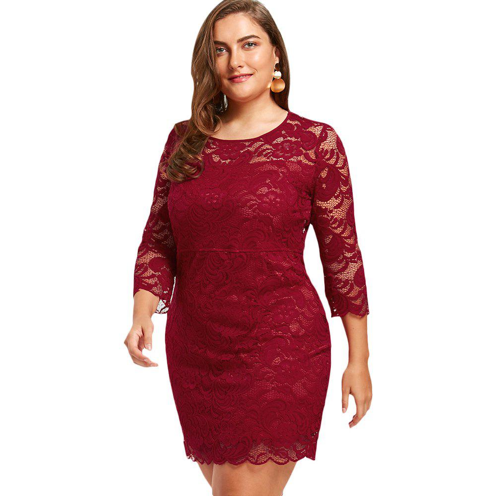 2018 Womens Sheath Dress 34 Sleeves Lace Hollow Out Sexy Plus Size