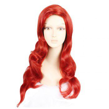 Fashion Style Synthetic Hair Long Wavy Red Wine Peruca Anime Cosplay Women's Wig - RED RED