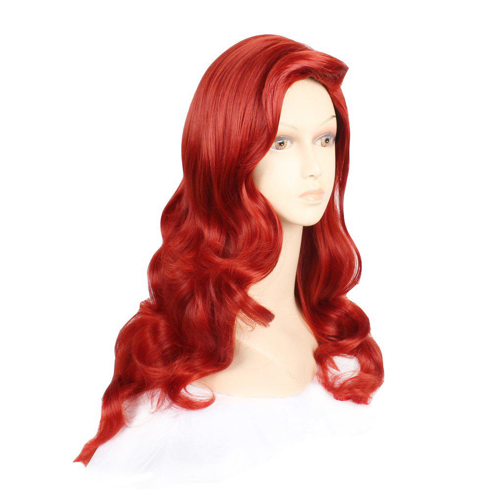 Fashion Style Synthetic Hair Long Wavy Red Wine Peruca Anime Cosplay Women's Wig - RED