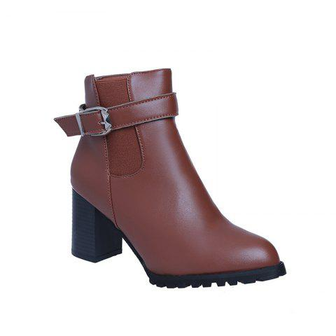 New High Heels Black Leather Short Boots - BROWN 39