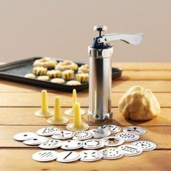 Cookie Biscuits Mold Press Machine Cake Decorating Biscuit Maker Set Baking Pastry Tools - SILVER SILVER