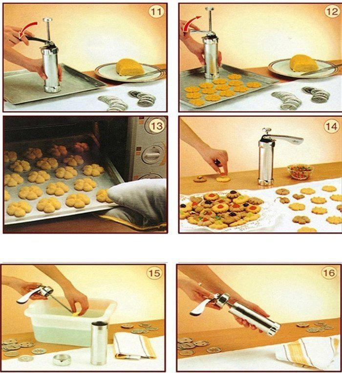 Cookie Biscuits Mold Press Machine Cake Decorating Biscuit Maker Set Baking Pastry Tools - SILVER