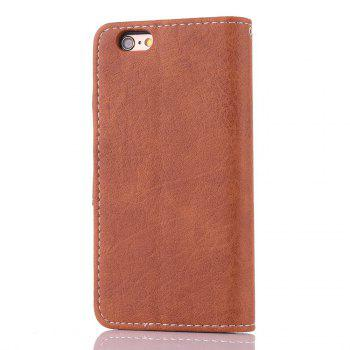 Vintage Small Hit Color PU Leather Wallet Case for iPhone 6 - BROWN