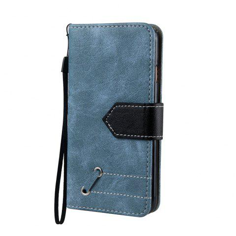 Vintage Small Hit Color PU Leather Wallet Case for iPhone 6 Plus - BLUE