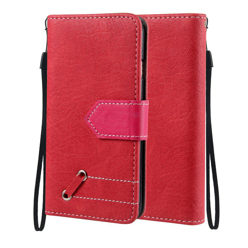 Vintage Small Hit Color PU Leather Wallet Case for iPhone 6 Plus - RED