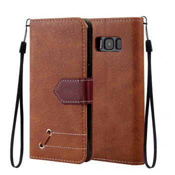 Vintage Small Hit Color PU Leather Wallet Case for Samsung Galaxy S8 - BROWN