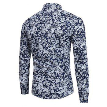 New Men'S Long Sleeves Printed  Floral  Beach  Night Clubs Shirts Autumn and Winter - NAVY M