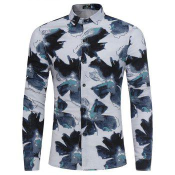 New Men'S Long Sleeves Printed Shirts Floral Shirts Beach Shirts Night Clubs Shirts - GREEN 2XL