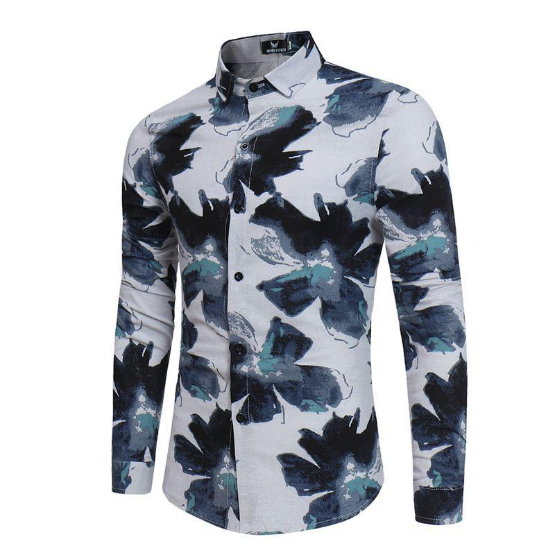New Men'S Long Sleeves Printed Shirts Floral Shirts Beach Shirts Night Clubs Shirts - GREEN L