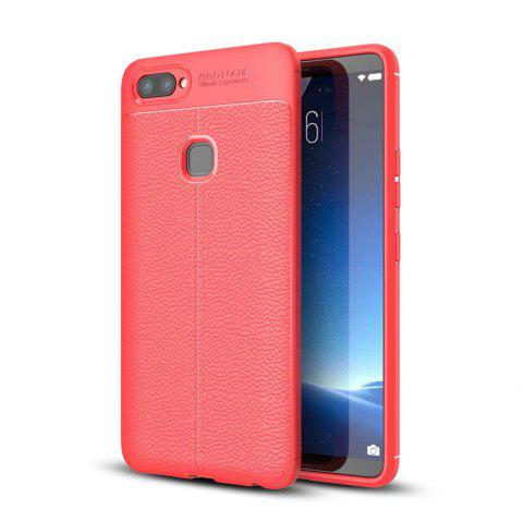 Contracted Leather Business Litchi Pattern PU Soft TPU Cover Case for Vivo X20 - RED