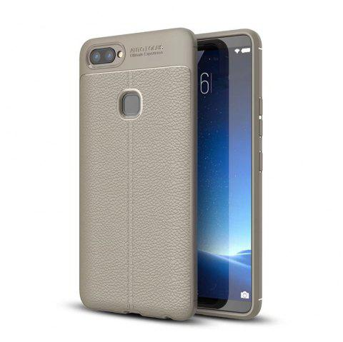 Contracted Leather Business Litchi Pattern PU Soft TPU Cover Case for Vivo X20 - GRAY