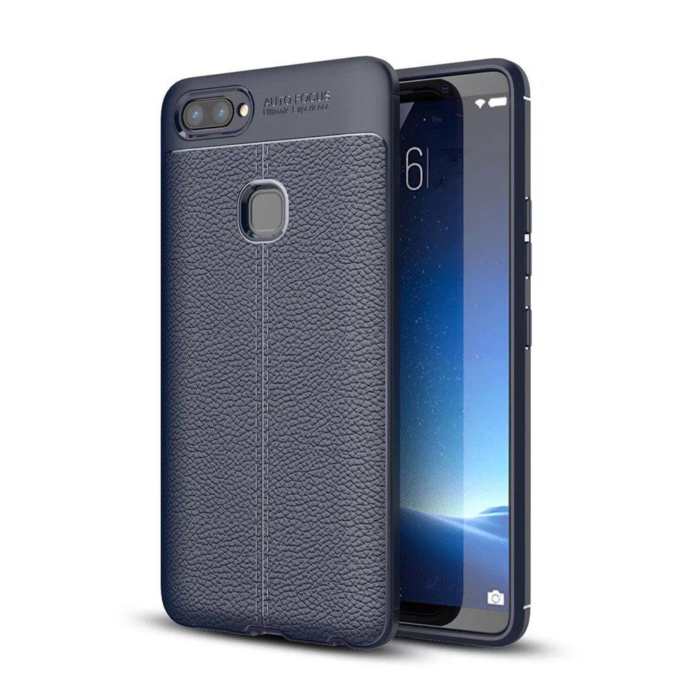 Contracted Leather Business Litchi Pattern PU Soft TPU Cover Case for Vivo X20 - BLUE