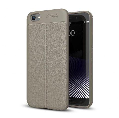 Contracted Leather Business Litchi Pattern PU Soft TPU Cover Case for Vivo X9 - GRAY