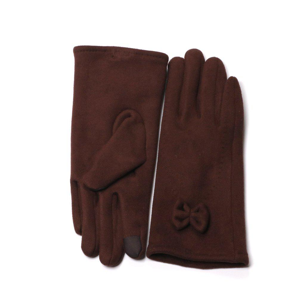 Women's Touch Screen Gloves Warm Winter Feast Gloves Driving Riding Outdoor and Indoor Fashion Gloves - DARK RED