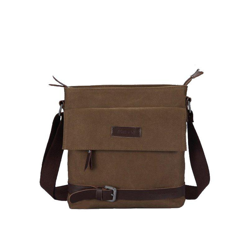 Canvas Single Shoulder Slanted Man Bag - DEEP BROWN