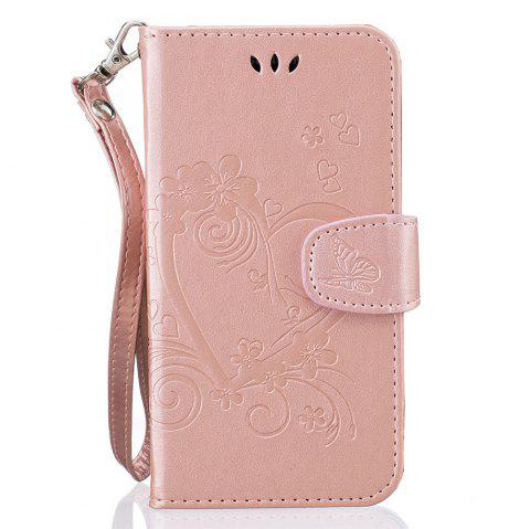 Imprint Heart Flower Wallet Leather Stand Cell Phone Cover with Magnet for Samsung Galaxy  S5 - ROSE GOLD