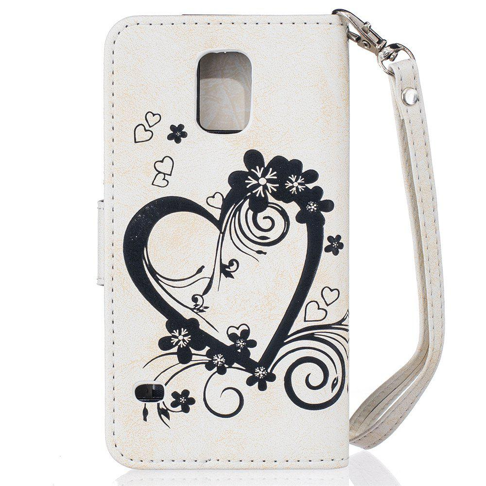 Imprint Heart Flower Wallet Leather Stand Cell Phone Cover with Magnet for Samsung Galaxy  S5 - WHITE