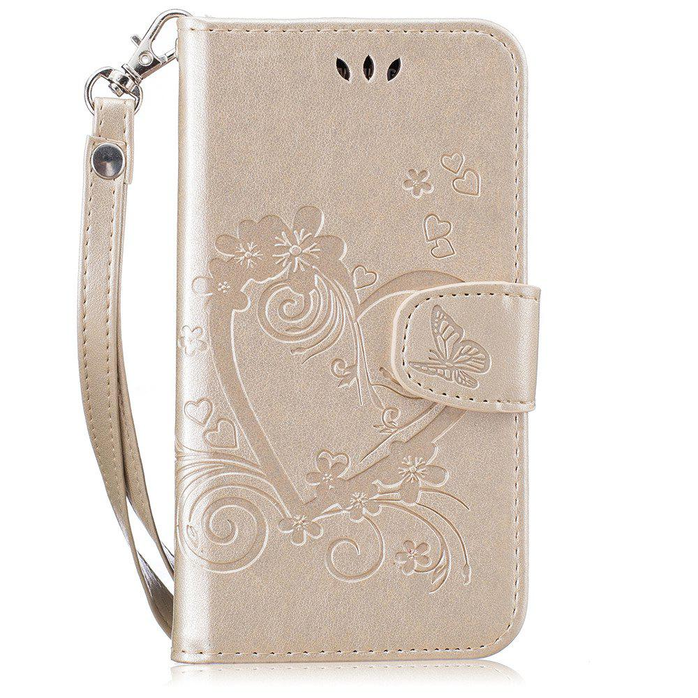 Imprint Heart Flower Wallet Leather Stand Cell Phone Cover with Magnet for Samsung Galaxy  S5 - GOLDEN