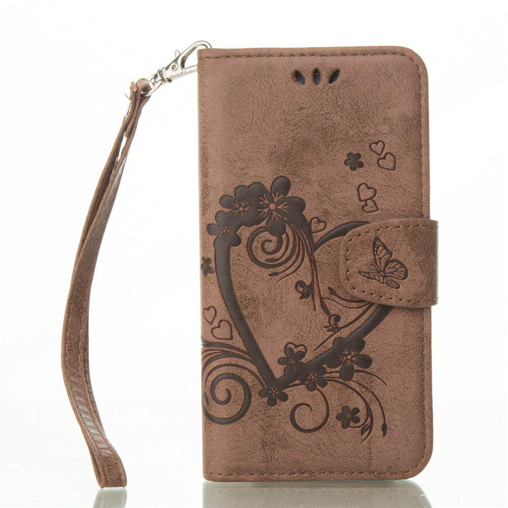 Imprint Heart Flower Wallet Leather Stand Cell Phone Cover with Magnet for Samsung Galaxy  S6 - BROWN