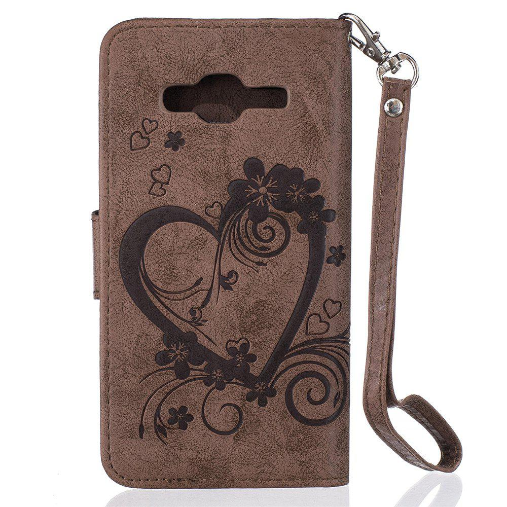 Imprint Heart Flower Wallet Leather Stand Cell Phone Cover with Magnet for Samsung Galaxy  J3 2016 - BROWN