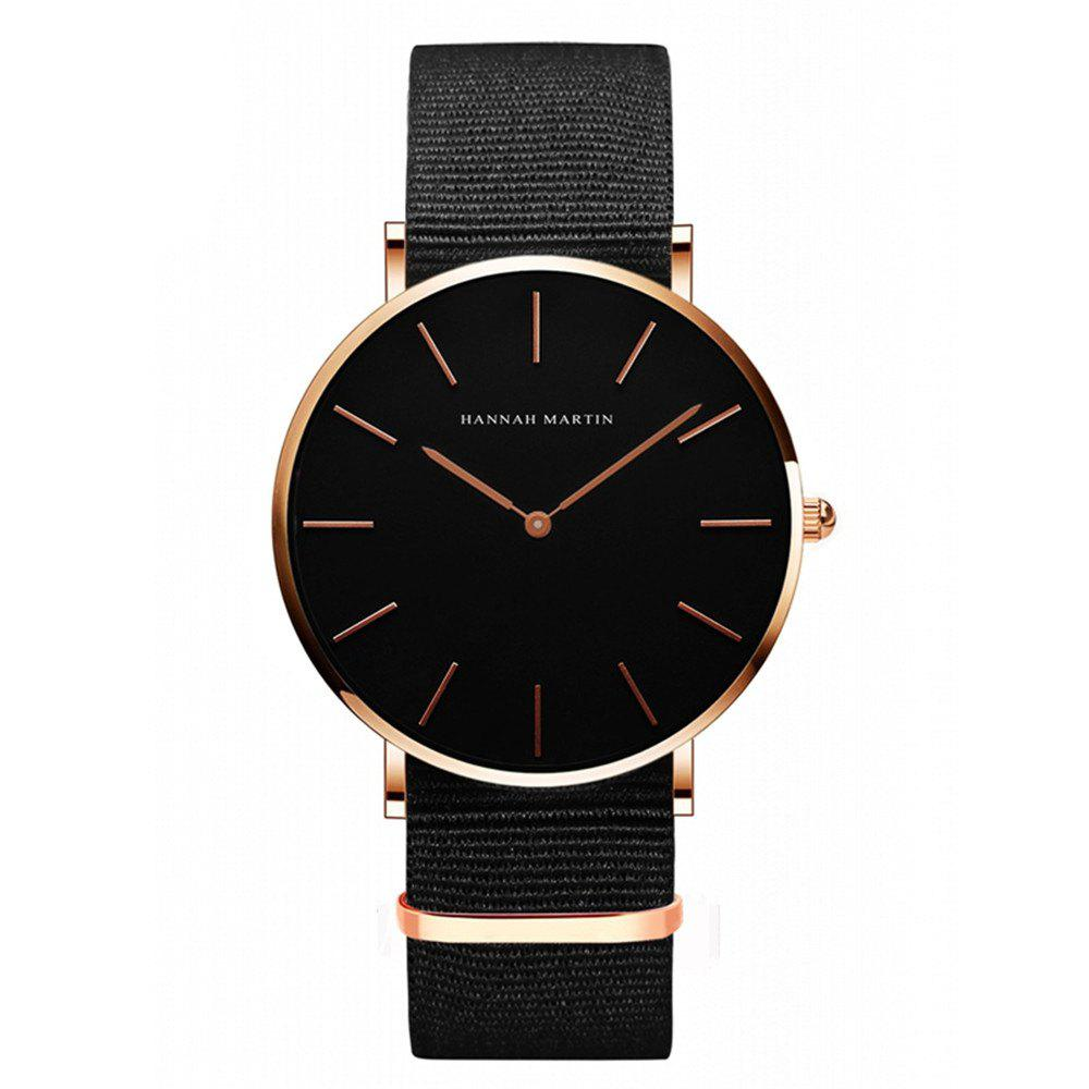 Hannamading CH02 4893 Leisure  Simple  Waterproof Canvas Band Women Watch - BLACK/ROSE GOLD