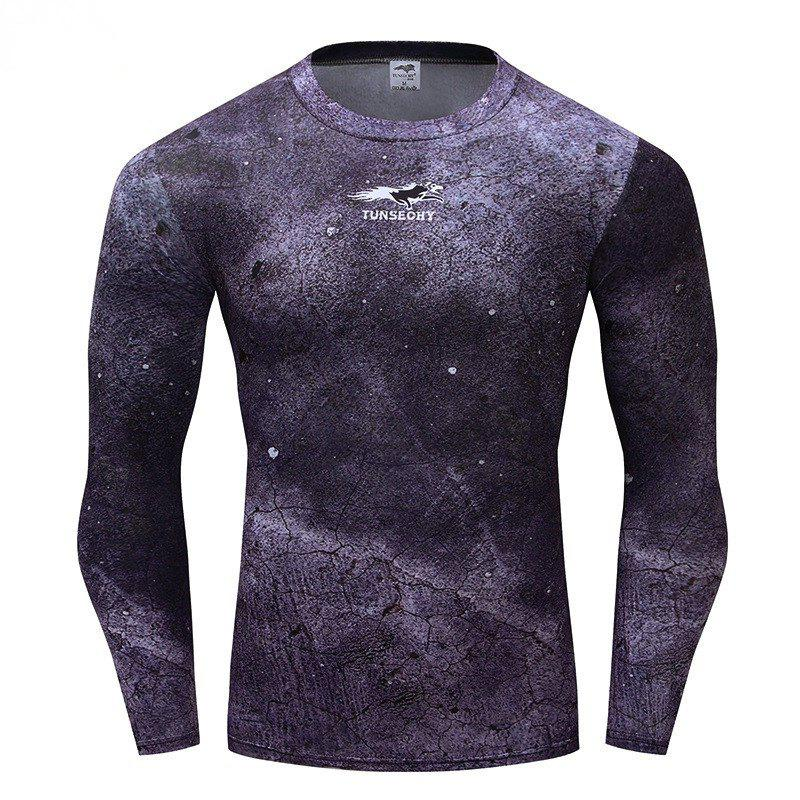 Fashion  Trend Men's  Wear Long Sleeve T-shirt - DAHLIA 3XL