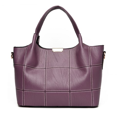 PU Leather Large Capacity Ladies Package Fashion All Match Portable Handbag Shoulder Bag - PURPLE
