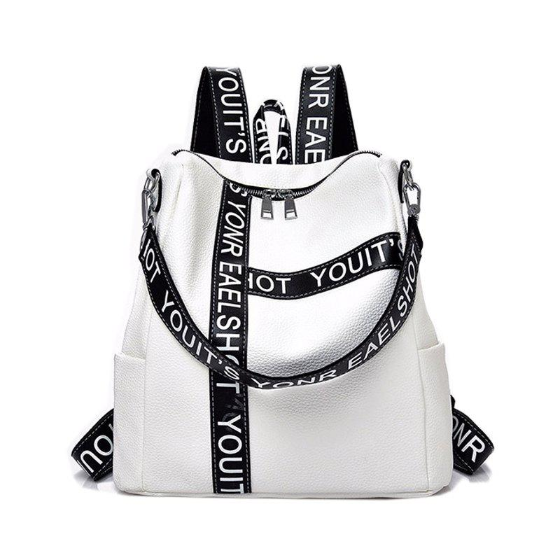 Casual Wild Shoulder Bag Printed Letter Design Backpacks - WHITE