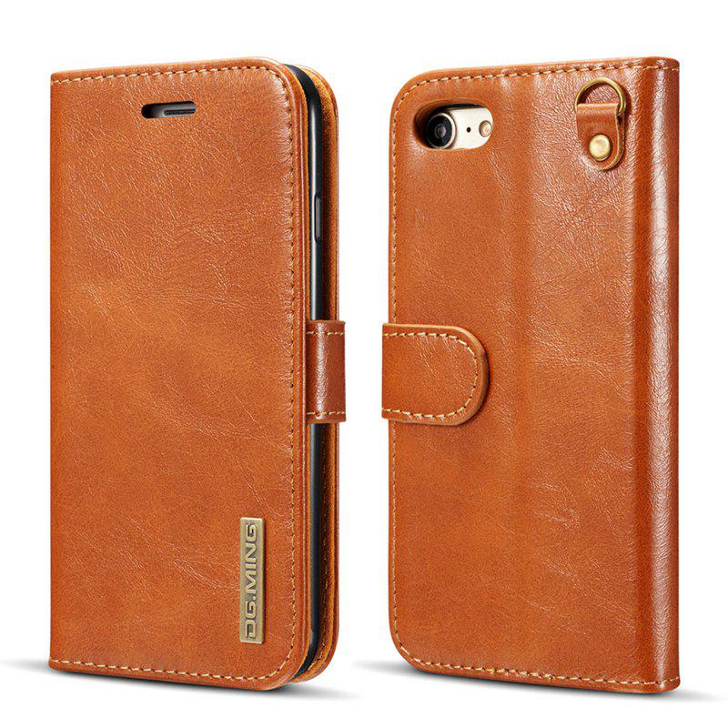 DG.MING Microfiber Genuine Leather 2 in 1 Stand Case for iPhone 7 / 8 - BROWN