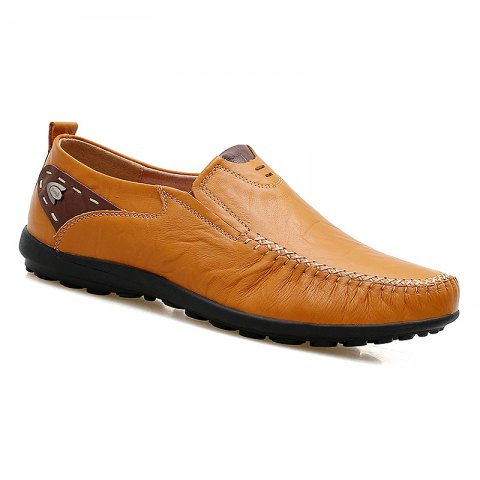 Doug Genuine Leather Business Shoes - YELLOW 45
